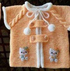 Haraşo olarak örülen kolay bir model Malzemeler: Beyaz bebe yünü Kavun içi bebe yünü 3 numara şiş Düğme Hazır süs Yapılışı: Yakadan beyaz ipimizle 82 ilmek ba