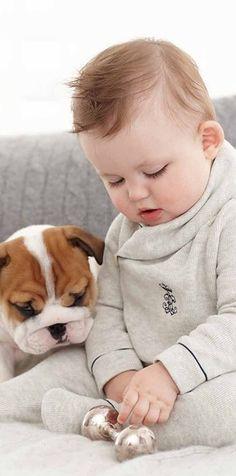 English Bulldog puppy & his best friend