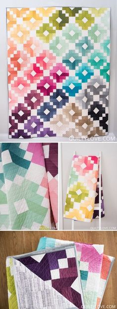 Ombre Gems quilt pattern by Emily of quiltylove.com. This bright and colorful modern quilt pattern uses ombre fabrics to create a visually stunning quilt using traditional piecing. Jelly roll friendly quilt pattern.