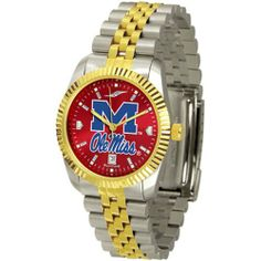 "Mississippi Rebels NCAA AnoChrome ""Executive"" Mens Watch by SunTime. $169.20. Elegant design for the modern man or woman who wants to show their team spirit! The dial is presented in a sleek, stainless steel case and bracelet that rests fashionably yet comfortably across the wrist. Features a convenient date display, quartz accurate movement and a scratch resistant mineral crystal face. The AnoChrome dial option increases the visual impact of any watch with a s..."