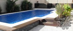 Fibreglass Permanent Pool with Stone Materials Pool Frame and Fresh Plant Decorating also Minimalist Wooden Pool Side for Above Ground Plunge Pool Design Ideas