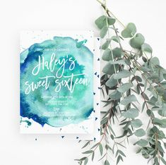 Sweet Sixteen Invitation, Watercolor 16th Birthday Party, Geometric, Blue, Teal, White, 654 - Spotted Gum Design - Etsy