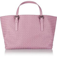 Bottega Veneta Intrecciato leather tote (53 350 ZAR) ❤ liked on Polyvore featuring bags, handbags, tote bags, purses, pink, woven tote, woven leather handbag, pink leather handbag, leather handbags and pink tote bag