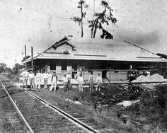 Exterior view of the Hawthorne railroad station, under construction - Hawthorne, Florida