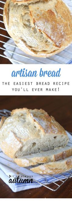 This artisan bread recipe is so easy to make and turns out amazing! It only takes 4 ingredients and 5 minutes of hands on time for crusty, delicious bread! How to make bread. Crazy easy homemade artisan bread {only 4 ingredients!} - It's Always Autumn Artisan Bread Recipes, Easy Bread Recipes, Baking Recipes, Simple Bread Recipe, Healthy Recipes, Bariatric Recipes, Artisan Bread Recipe For Bread Machine, Bread Recipe For Beginners, Simple Recipes