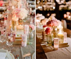 pink and festive tablescape. love the wire around the vases