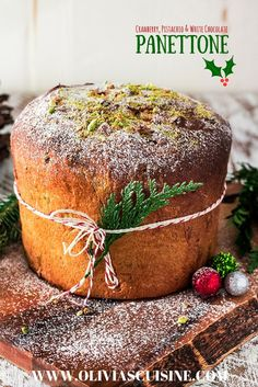 Cranberry, Pistachio and White Chocolate Panettone | www.oliviascuisine.com | Christmas is not the same without a freshly baked panettone! In this version, the Italian sweet bread is filled with cranberries, pistachios and delicious white chocolate chips! #NestleTollHouse #BakeSomeonesDay #HolidayRemix #sponsored