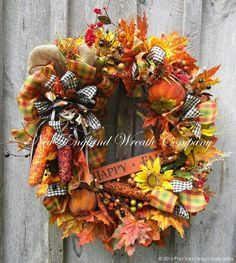 """""""Happy Fall"""" Country Cottage Wreath"""