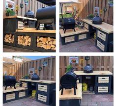 Backyard Kitchen, Outdoor Kitchen Design, Dutch Gardens, Backyard Pergola, Outdoor Living, Outdoor Decor, Outdoor Cooking, Barbecue, Diy Home Decor