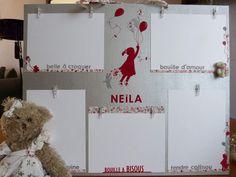 Une amie m'a demandé de réaliser un pêle-mêle photos pour le baptême de sa petite nièce, Neïla. Elle le voulait dans les tons gris, blanc et rouge, sur le thème d 'un enfant qui s'envole avec des ballons. Je vous le laisse découvrir.....