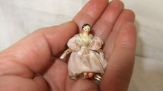 Sweet Antique Tiny Little Jointed Wooden Dolls House Peg Doll & Original Dress