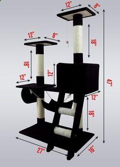 New Cat Tree 47 Kitten Condo Play Furniture Scratching Post Pet House Black | eBay