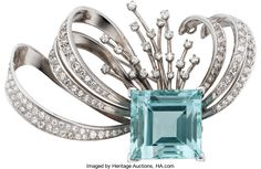 Estate Jewelry:Brooches - Pins, Art Deco Aquamarine, Diamond, Platinum Brooch. ...