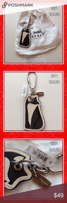 """COACH LEATHER FOX FOB COACH LEATHER FOX FOB Purse ~ Keychain FOB #54924 Black ~ Grey ~ White Keychain has Silver Dogleash Style Clip  Silver Coach Hang tag Keychain Approx. Dimensions: 3.5"""" x 2""""  Includes Coach Dust Bag, Gift Receipt & Gift Box upon request! ❌NO TRADE❌ Coach Accessories Key & Card Holders"""