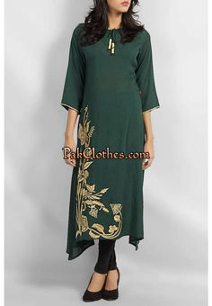Bottle green Pakistani Long Kurtis, Clothes For Women In 20's, Cold Shoulder Dress, Tunic Tops, Bottle, Green, Dresses, Fashion, Vestidos