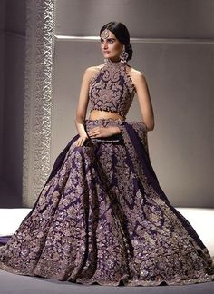 Exclusive Heavy Designer Beautiful Purple Color Bridal Lehenga Choli-B Indian Bridal Lehenga, Indian Bridal Wear, Indian Wedding Outfits, Bridal Outfits, Indian Wear, Bridal Dresses, Pakistani Bridal, Punjabi Wedding, Indian Reception Outfit