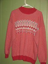Vtg 70's Men's Pullover Sweatshirt  Pattern Diamond Tassels Medium Cotton