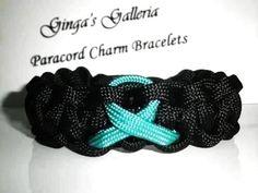 Post Traumatic Stress (PTSD) Awareness Teal Ribbon Paracord Bracelet