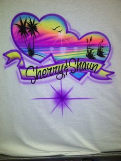 75f9ee76 Airbrush Ocean Beach Scene T Shirt Personalized with Name Airbrushed 80s  90s Custom Throwback T-Shirt