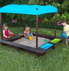 Growing and Changing - Just Like Our Kids KidKraft Kona Sandbox with CanopyKidKraft Kona Sandbox with Canopy Outdoor Play Spaces, Kids Outdoor Play, Outdoor Fun, Outdoor Decor, Backyard Hammock, Backyard Playground, Sandbox With Canopy, Outdoor Chalkboard, Kids Sandbox