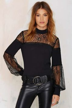 Nasty Gal Lace to the Finish Blouse - Black | Shop Clothes at Nasty Gal!