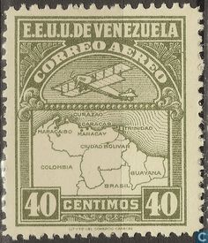 Stamps - Venezuela - Plane and country map 1930