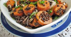 Sweet potatoes are set off by lentils' earthiness and pungent red onions in this hearty winter salad.