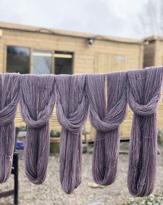 This is the first batch of yarn to come out of the new dyeshed AND the first batch on the washing line this year! I doubt that itll dry by the end of the day but its a start. Coming Out, Yarns, Eye Candy, Cottage, Victoria, Wool, Instagram, Casa De Campo, Cottages