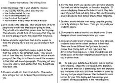 The Giving Tree Directions for Teachers for Lesson Plans