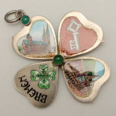 Fold-Open Enamel Heart Charm Bremen Souvenir 800 Silver c1900..