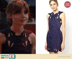 Clara's navy blue cutout dress on Doctor Who. Outfit Details: http://wornontv.net/36836/ #DoctorWho