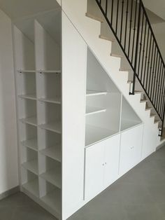 Most creative stair with storage inspirations 15 Understairs Storage CREATIVE Inspirations Stair storage Staircase Storage, Basement Storage, Staircase Design, Under Stair Storage, Storage Shelves, Shelving, Space Under Stairs, Under The Stairs, House Stairs