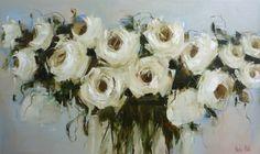 white roses 91x152cm Nicole Pletts