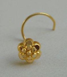 18k traditional design gold nose stud nosepin rajasthan india
