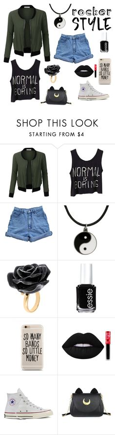 """Untitled #8"" by mcrobinette ❤ liked on Polyvore featuring LE3NO, Bill Blass, Carolina Glamour Collection, Nach Bijoux, Essie, Lime Crime, Converse, Usagi, rockerchic and rockerstyle"