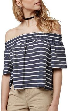 Topshop 'Bardot' Stripe Smock Off the Shoulder Top - A smocked off-the-shoulder neckline kicks up the flirty retro charm of a fluttery top patterned in jaunty stripes.