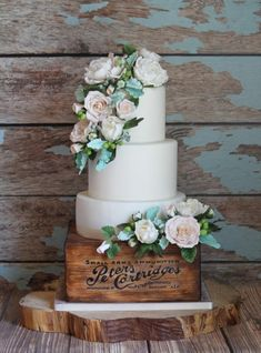 White Peonies and Roses Rustic Wedding Cake