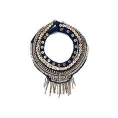 Petite Layne Necklace Costume ($540) ❤ liked on Polyvore featuring jewelry, necklaces, woven necklace, navy blue jewelry, braid jewelry, beading necklaces and beaded necklaces