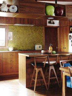 Stylish all wood kitchen in midcentury modern with interesting tiles @pattonmelo