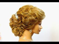 Hairstyle for long hair. Wedding prom updo. - YouTube