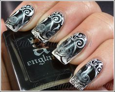 31DC2012 Day 7 - Black & White Nails 12 by NailsandNoms