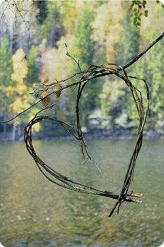 Simple heart of willow suspended over water.