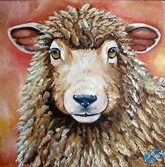 Best Sellers -  - Sheep Paintings - Shelby  by Laura Carey