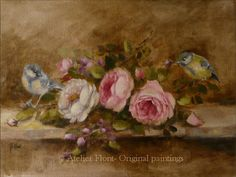 Blue-tit and roses ✿ Original paintings by Helen Flont
