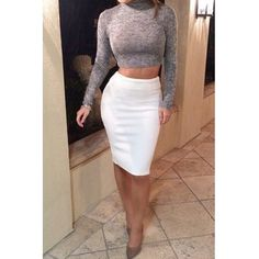 Sexy Turtleneck Long Sleeves Polyester Two-piece Sheath Knee Length Skirt Set(Grey Top White Skirt)