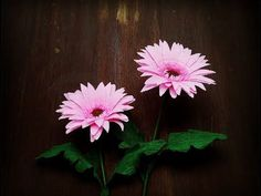 How To Make Gerbera Flower From Crepe Paper - Craft Tutorial. Throughout history, the gerbera flower has symbolized the innocent hearts of children, and, happiness and gratefulness for the life you have been . sheer multitude of available colors has Paper Flowers Craft, How To Make Paper Flowers, Tissue Paper Flowers, Paper Flowers Diy, Handmade Flowers, Flower Crafts, Gerbera Flower, Gladiolus Flower, Dahlia Flowers