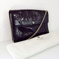 KATE SPADE clutch Gorgeous dark purple patent leather kate spade clutch in perfect condition!  NWOT. Comes with dusk bag and card! Really spacious!                                                                                          10% off bundles! reasonable offers considered via offer button! NO trade/PayPal/lowballing!                                                                Connect with me on social media: IG | PIN | FB | TWITTER @RoseLegagneur kate spade Bags Clutches…