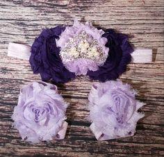 Purple Shabby And Rhinestone Crown Headband And Barefoot Sandal Set!