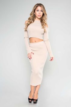 Cold Shoulder Ribbed Two Piece - Tan