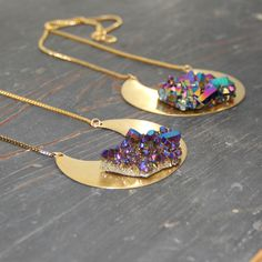 Genuine Aura Crystal Crescent Necklace | The Alchemy Shop, LLC